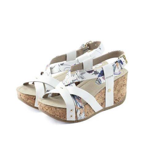 Formentera Cross Straps Wedges (Floral White)