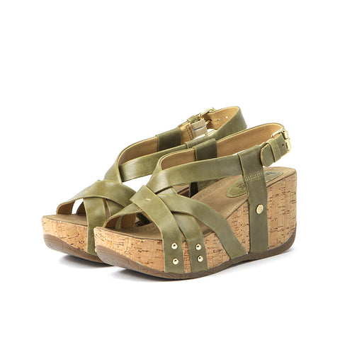 Formentera Cross Straps Wedge Sandals (Olive)