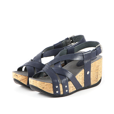 Final: Formentera Cross Straps Wedge Sandals (Navy)