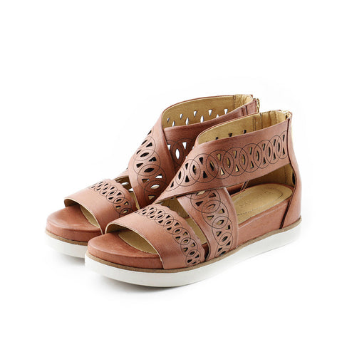 Potsdam Perforated Wide Straps Sandals (Brandy)