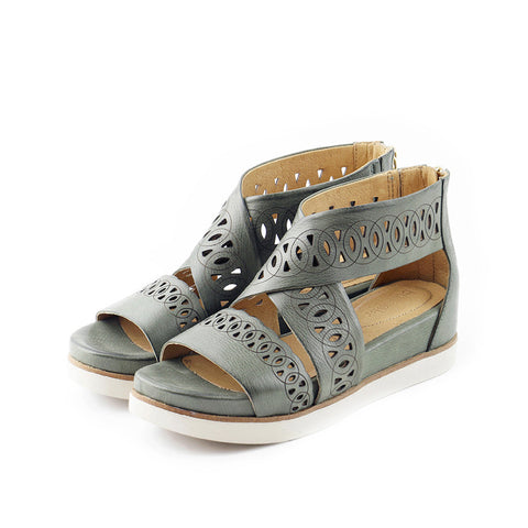 Potsdam Perforated Wide Straps Sandals (Sage)