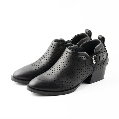 Alameda Perforated Ankle Booties (Black)