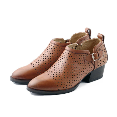 Alameda Perforated Ankle Booties (Brandy)