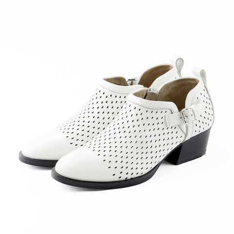 Alameda Perforated Ankle Booties (White)