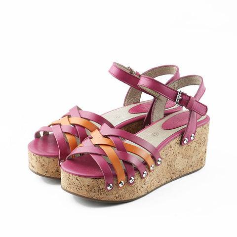 Mansfield Woven Platform Wedges (Fuxia/Arancia)