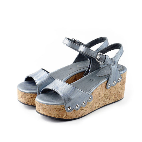 Mansfield Platform Wedges (Metallic Grey)