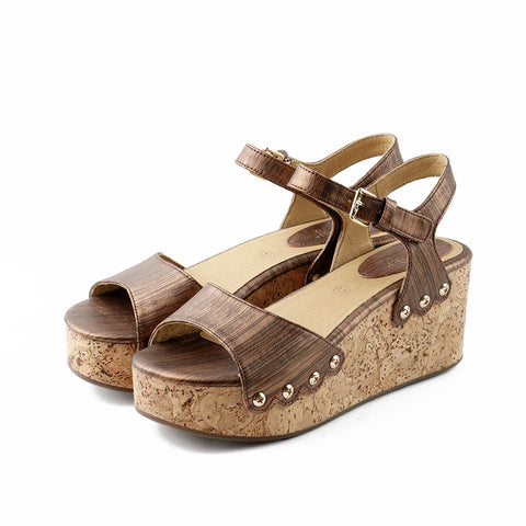 Mansfield Platform Wedges (Metallic Brown)