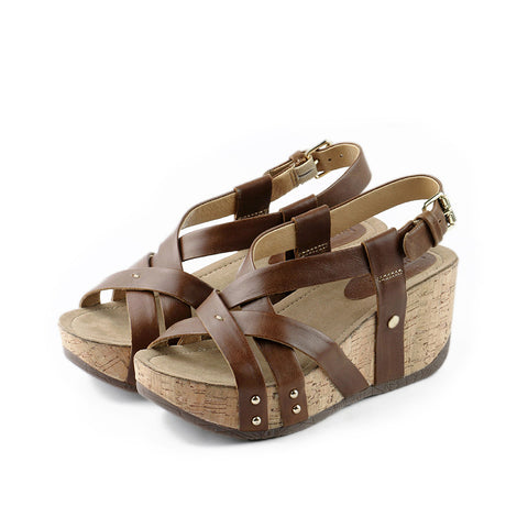 Formentera Cross Straps Wedges (Brown)