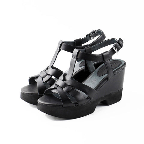 Perugia T-Strap Wedges (Black)