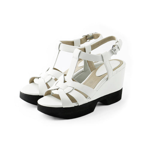 Perugia T-Strap Wedges (White)