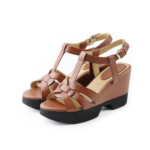 Perugia T-Strap Wedges (Brandy)