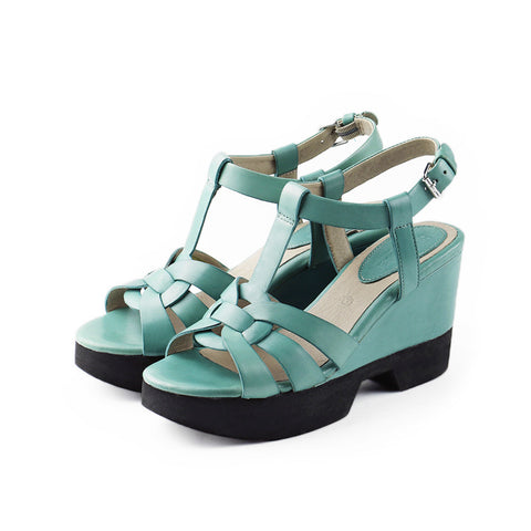 Perugia T-Strap Wedges (Peacock)