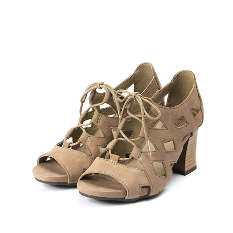 Martinique Cutout Lace-Up Sandals (Taupe)