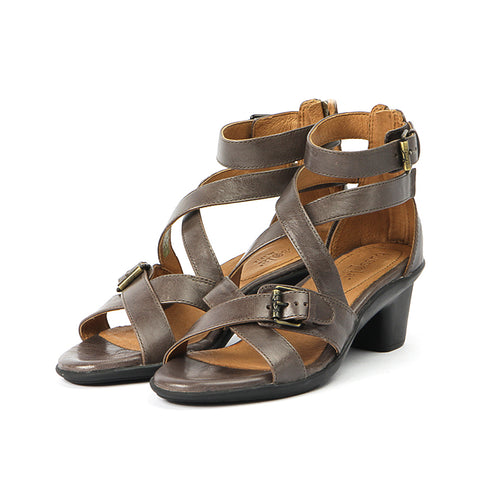 Bechar Cross Straps Buckle Sandals (Taupe)