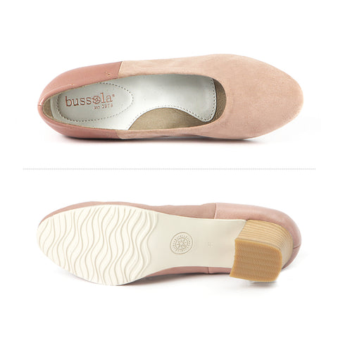 Barbados Block Heel Pumps (Suede Blush)