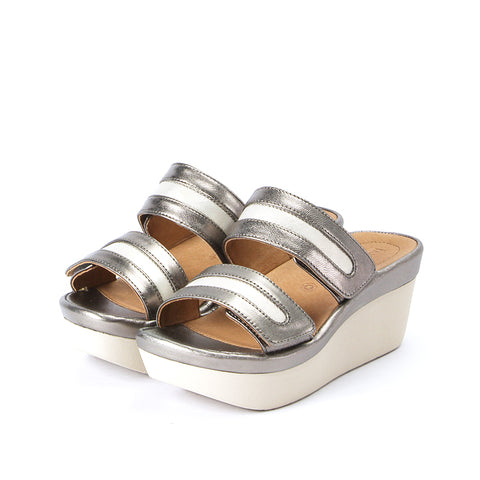 Grenada Velcro Sandals (Pewter/Oyster)
