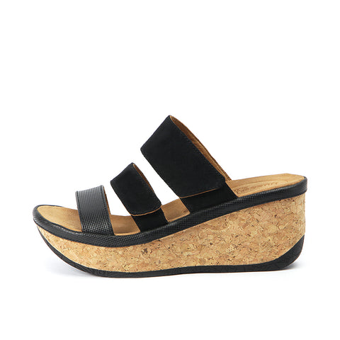 Trinidad Velcro Wedge Sandals (Black)