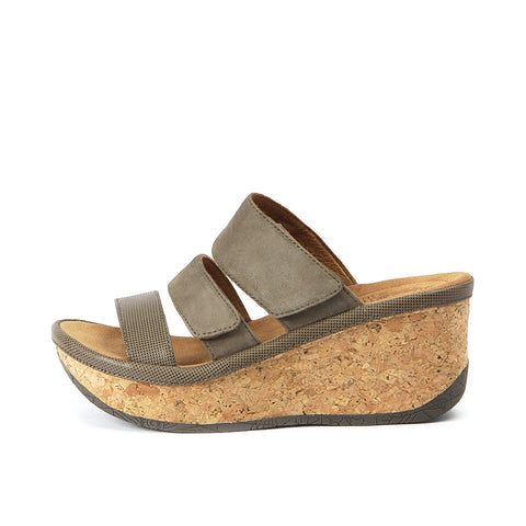 Trinidad Velcro Wedge Sandals (Taupe)