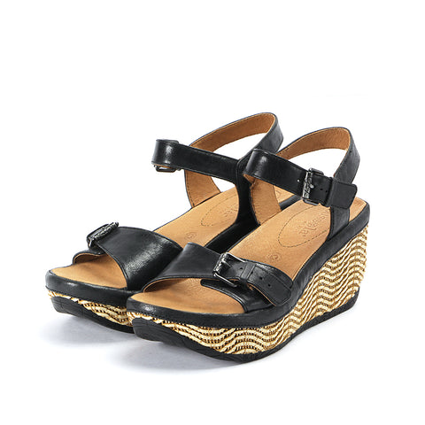 Trinidad Ankle Straps Wedge Sandals (Black)