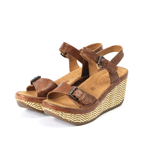 Trinidad Ankle Straps Wedge Sandals (Camel)