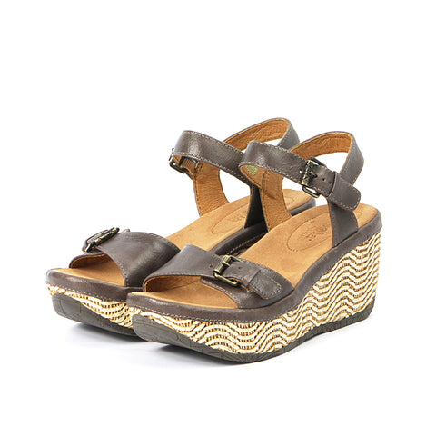 Trinidad Ankle Straps Wedge Sandals (Taupe)