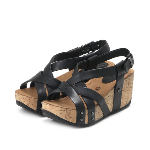 Formentera Cross Straps Wedge Sandals (Black)