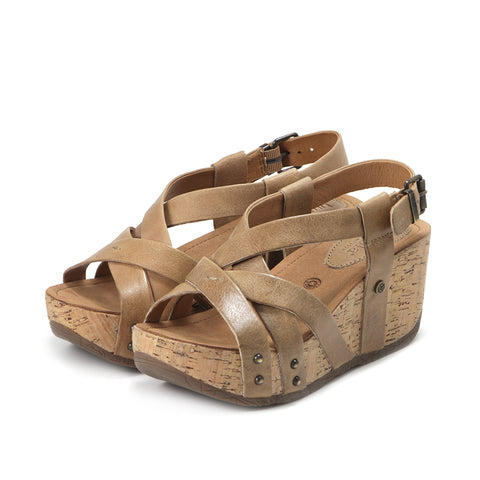Formentera Cross Straps Wedge Sandals (Sand)
