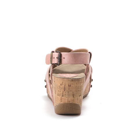 Formentera Cross Straps Wedge Sandals (Blush)