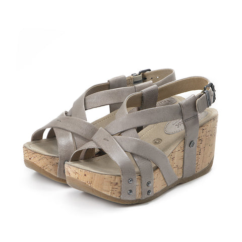 Formentera Cross Straps Wedge Sandals (Vapor)