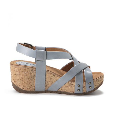Formentera Cross Straps Wedge Sandals (Jeans)