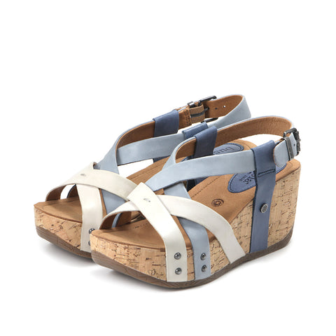 a063f10923e Formentera Cross Straps Wedge Sandals (Vapor Jeans Denim) ...