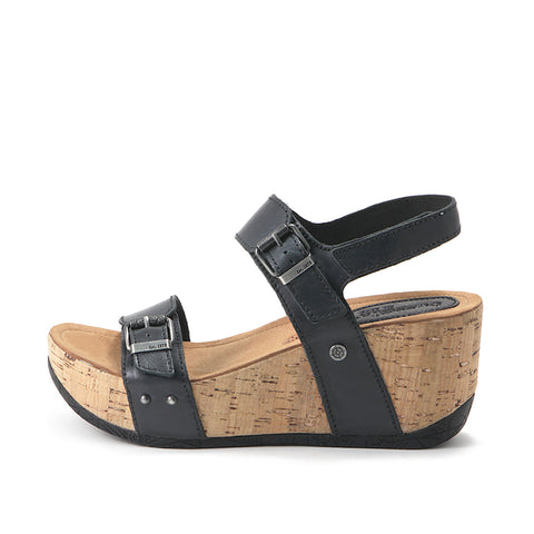 Formentera Buckled Wedge Sandals (Black)