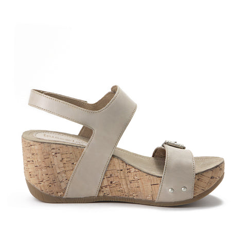 Formentera Buckled Wedge Sandals (Doeskin)