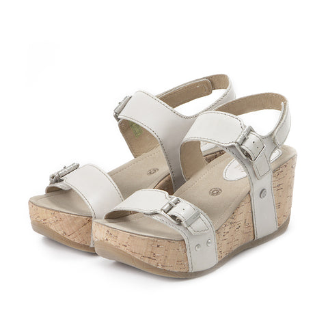 Formentera Buckled Wedge Sandals (Vapor)