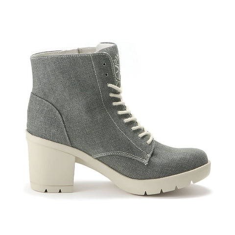 Bucharest Lace-Up Platform Ankle Boots (Charcoal)