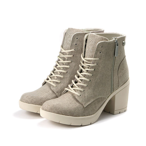 Bucharest Lace-Up Platform Ankle Boots (Dune)