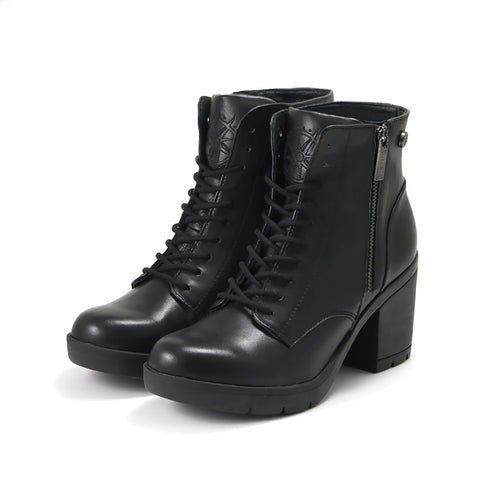 Bucharest Lace-Up Platform Ankle Boots (Black)