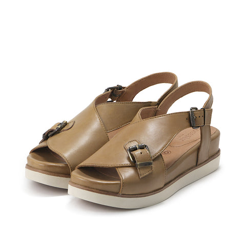 Potsdam Cross Strap Slingback Sandals (Wood)