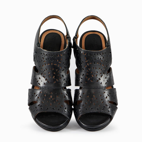 Lima Perforated Sandals (Black)