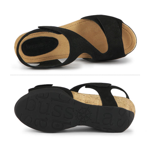 Nice Velcro Wedge Sandals (Black)