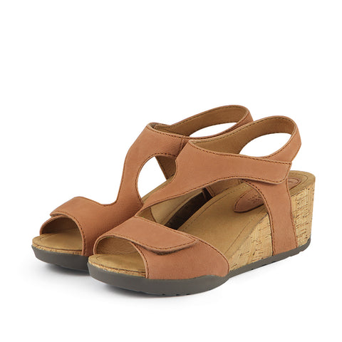 Nice Velcro Wedge Sandals (Brandy)