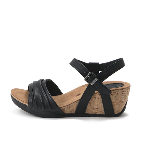 Nice Buckle Ankle Strap Wedge Sandals (Black)