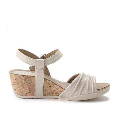 Nice Buckle Ankle Strap Wedge Sandals (Doeskin)