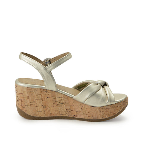 Ibiza Knotted Wedge Sandals (Pearl)