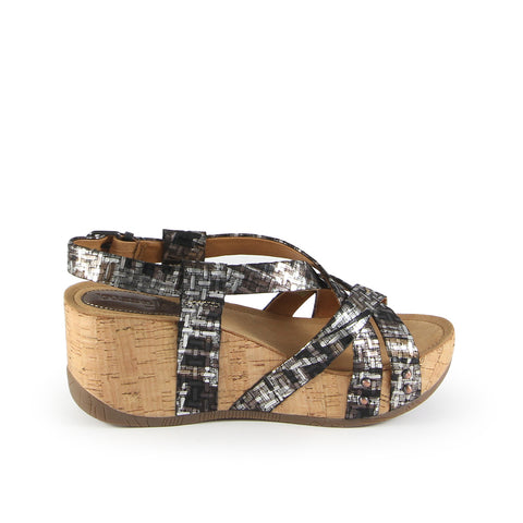 Formentera Cross Straps Wedge Sandals (Nero Antic Gold)