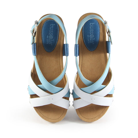 Formentera Cross Straps Wedge Sandals (Micro Washed Ocean)