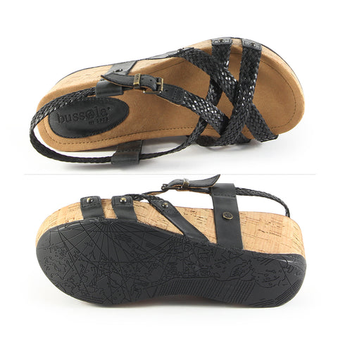 Formentera Woven Cross Straps Wedge Sandals (Black)