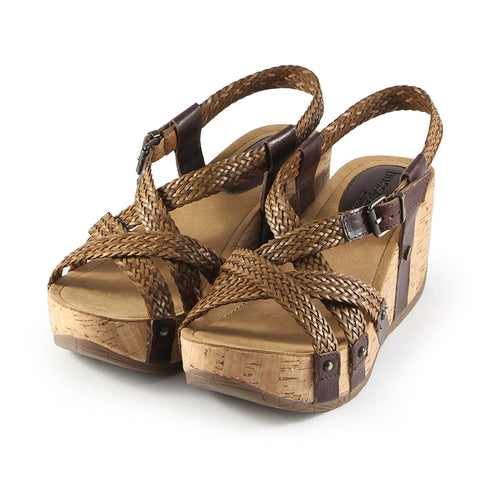 Formentera Woven Cross Straps Wedge Sandals (Brown)