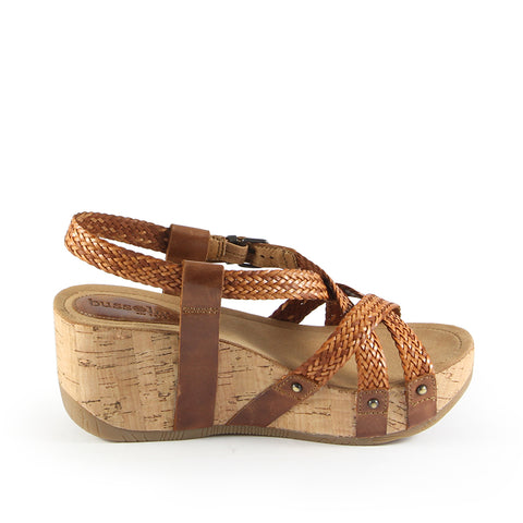Formentera Woven Cross Straps Wedge Sandals (Brandy)