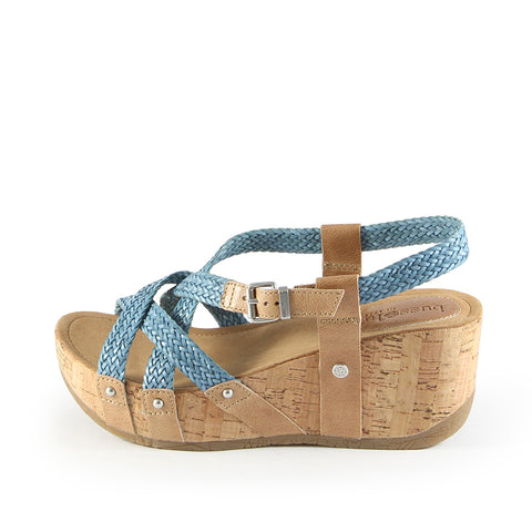 Formentera Woven Cross Straps Wedge Sandals (Jeans)
